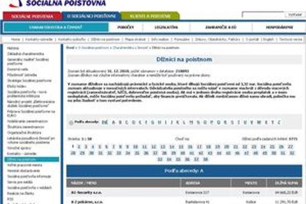 Dlžníci sa nájdu na webe sociálnej poisťovne.