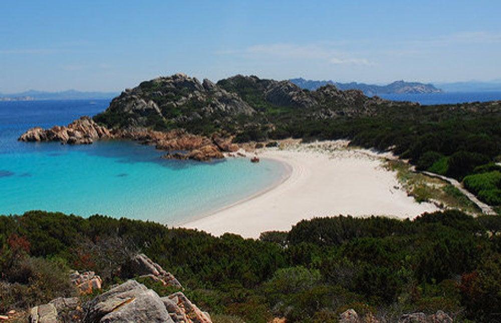 Spiaggia rosa, Isola di Budelli, Sardínia.