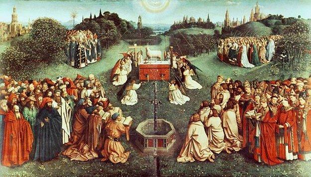 Centrálny obraz Klaňanie Baránkovi Božiemu.