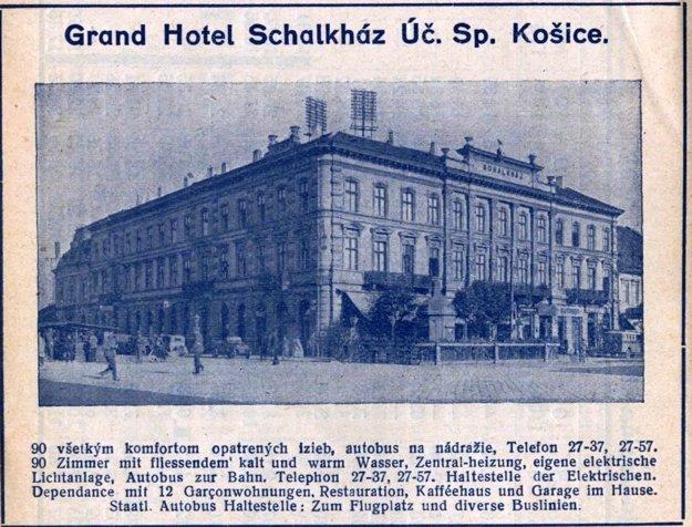 Hotel Schalkház, dobová reklama z roku 1936.