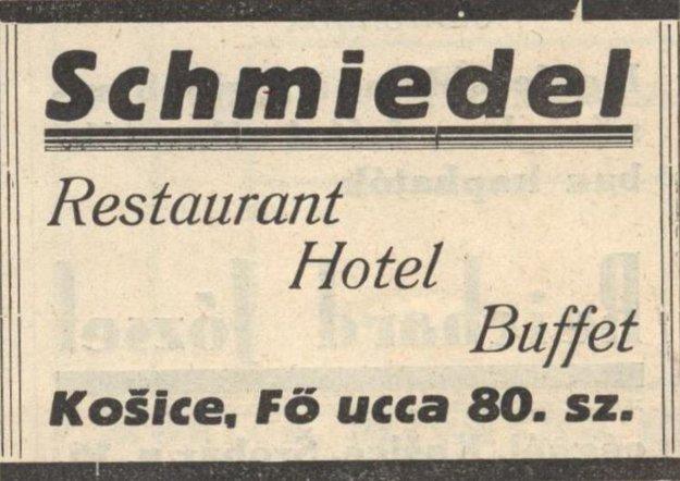 Reklama reštaurácie Schmiedl z roku 1932.