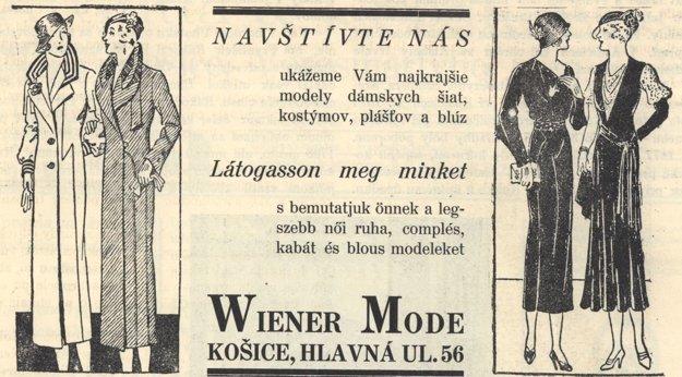 Dobová móda na reklame z roku 1932.