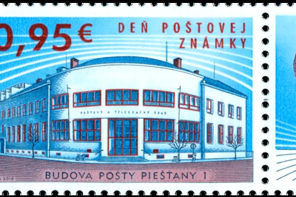 Nová poštová známka s motívom piešťanskej pošty.