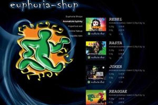 Euphoriashop ponúka aj na webe farebné a nebezpečné výrobky.