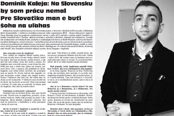 Dominik Kaleja zo Sabinova pracuje v Anglicku ako asistent učiteľa.