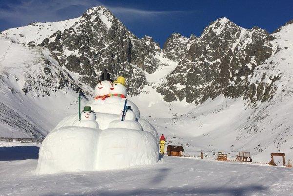 Mega snehuliaky. Vítajú lyžiarov na Skalnatom plese.