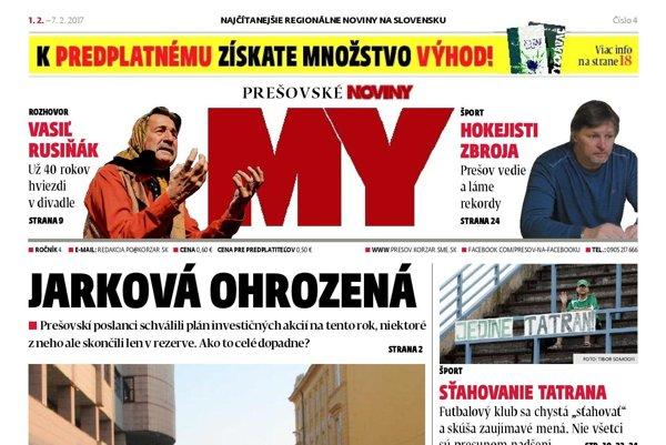 Titulná strana Prešovských novín č. 4/2017