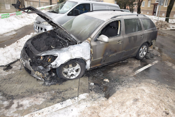 Škoda Octavia po požiari.