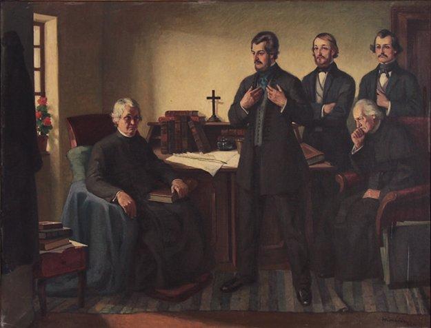 Návšteva Štúra, Hurbana a Hodžu u Jána Hollého na Dobrej Vode v júli 1843. Autor: Andrej Kováčik, 1925. Vpravo sedí dobrovodský farár Martin Lackovič.