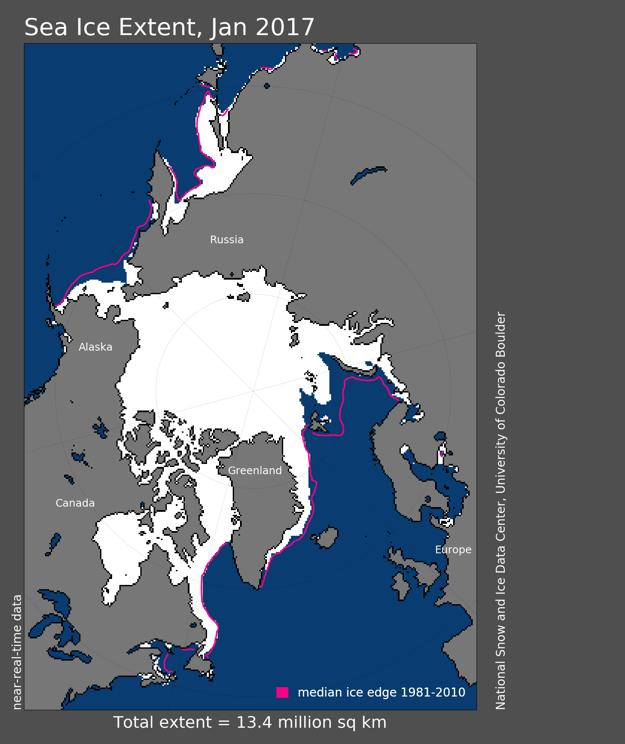 Rozsah morského ľadovca na Arktíde v januári 2017. Ružová čiara ukazuje priemerné hodnoty z meraní od roku roku 1981 do 2010.