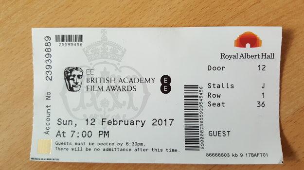 Lístok na BAFTA, ktorý  ktorý Meryl Streepova nechala na stole, keď odchádzala.