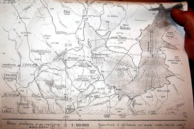 Mapa rozmiestnenia hypotetických kráterov po páde meteoritu Magura, ktorú vytvoril Juraj Klam.
