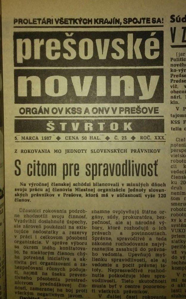 Z Prešovských novín z roku 1987.