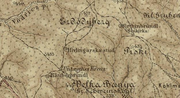 Historická mapa s názvom studničky