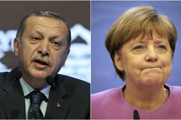 Turecký prezident Recep Tayyip Erdogan a nemecká kancelárka Angela Merkelová