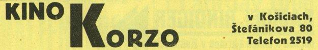 Kino Korzo - dobová reklama z r. 1934.