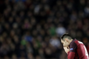 Hráč Sparty Praha Viačeslav Karavajev počas zápasu Európskej ligy, ilustračná fotografia.