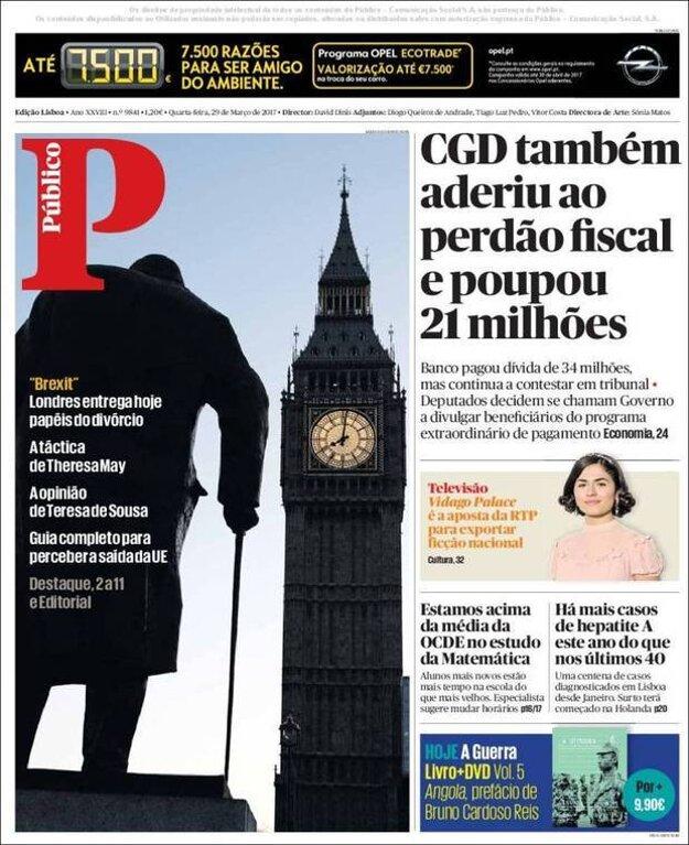 Portugalský denník Publico použil na titulnej strane pohľad na Big Ben spoza sochy Winstona Churchilla.