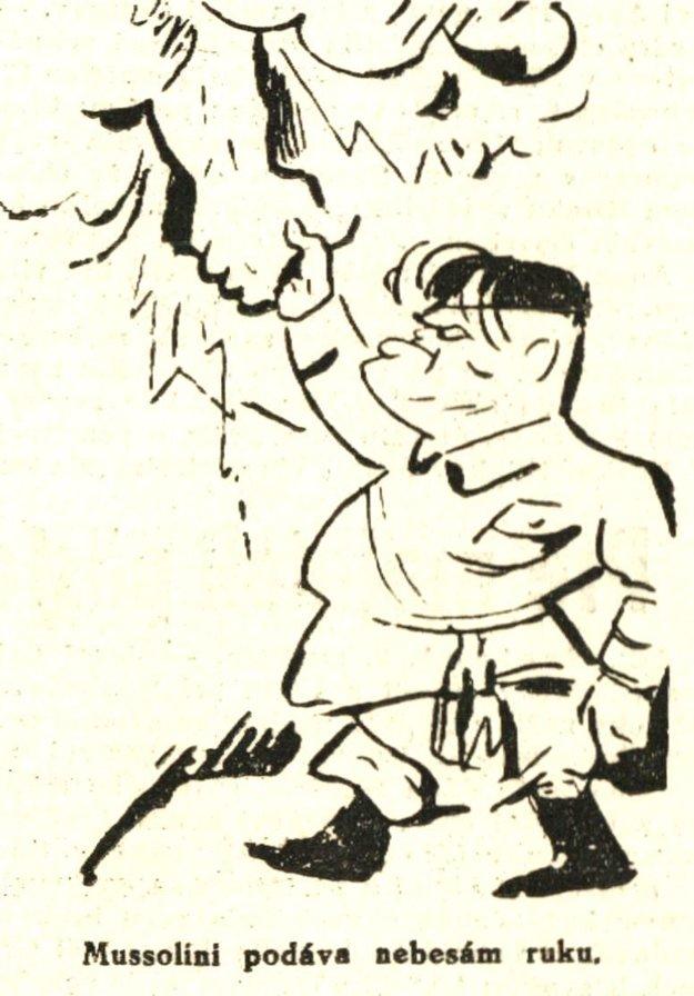 Dobová karikatúra B. Mussoliniho z r. 1936.