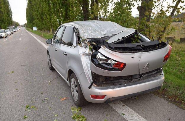 Toto auto poškodil strom.