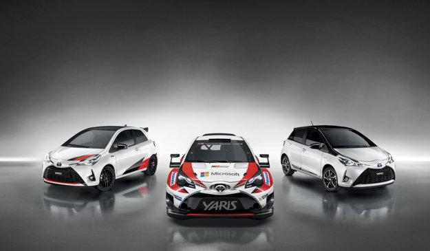 Špeciálne sa tešíme na príchod športového Yarisa GRMN (vľavo). GRMN bude akýmsi sériovým prepojením medzi pretekárskou verziou WRC (v strede) a obyčajným Yarisom.