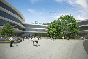 Takto by podľa vizualizácie malo vyzerať výskumno-vývojové centrum Esetu na bratislavskej Patronke.