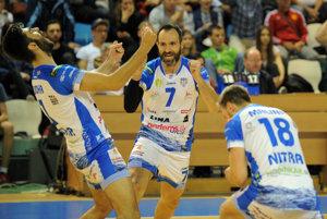 Radosť hráčov Nitry - zľava Marek Ludha, Andrej Grut a Marek Malina.