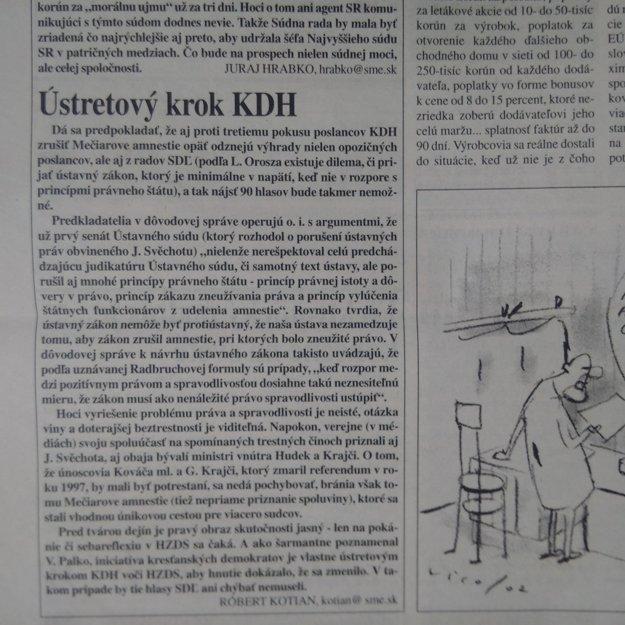 Komentár v SME zo 16. marca 2002.