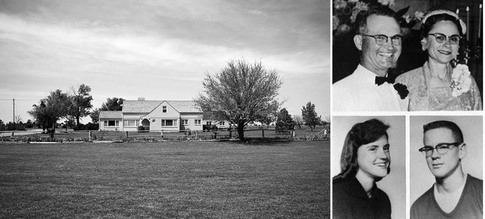 Rodina Clutterovcov a ich dom, v ktorom boli zavraždení. Dom v nezmenenom stave stojí v Holcombe dodnes.