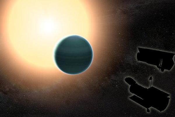 """Na skúmaní """"teplého Neptúnu"""" sa podieľal Hubblov teleskop aj Spitzerov vesmírny ďalekohľad."""