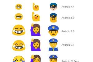 Vývoj niektorých emotikonov od verzie Android 4.3 po verziu Android O Beta.