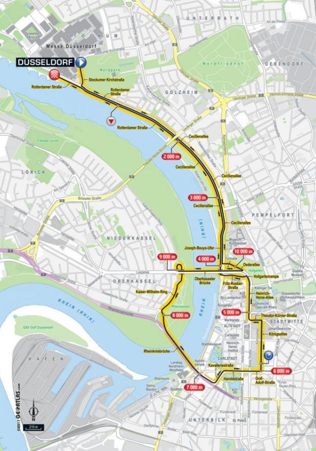 Mapa prvej etapy Tour de France 2017.