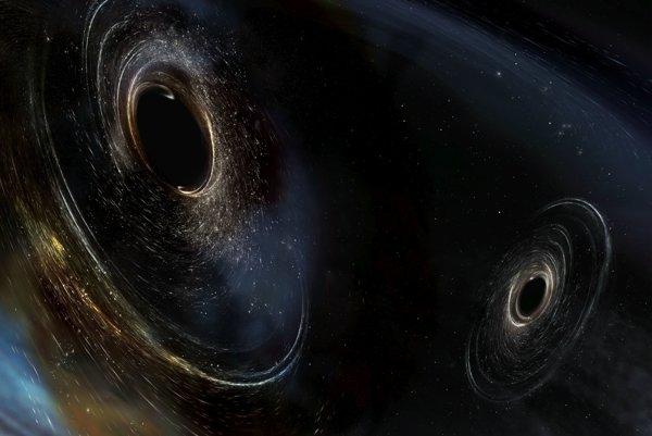 Umelecké zobrazenie dvoch vzájomne obiehajúcich čiernych dier.