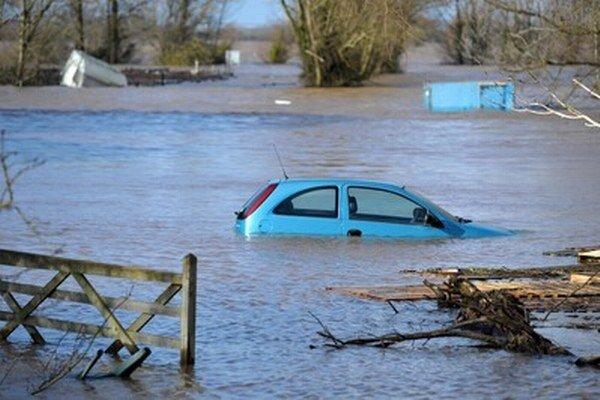Záplavy v Burrowbridge.