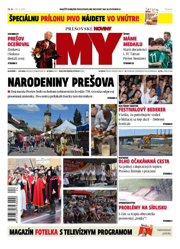 Titulná strana týždenníka MY Prešovské noviny č. 23/2017.