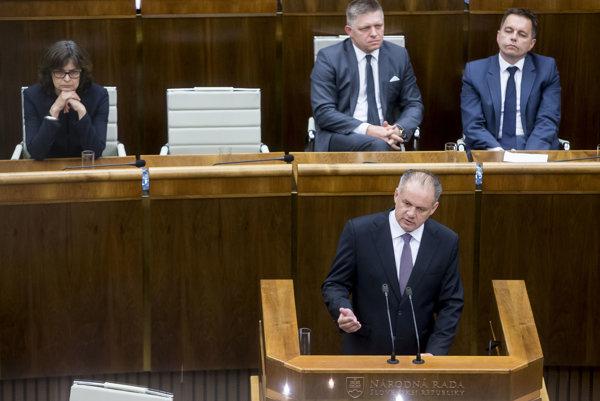 Prezident Andrej Kiska počas prejavu v parlamente.