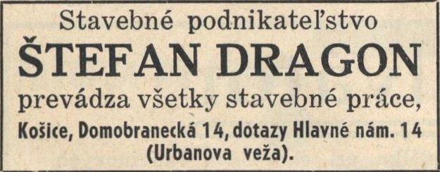 Dobová reklama na stavebnú firmu Štefana Dragona.