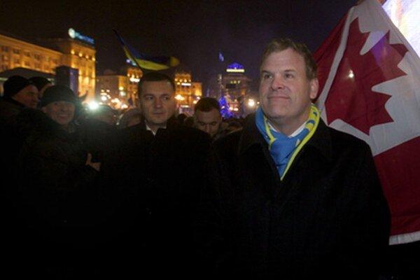 Kanadský minister zahraničných vecí John Baird počas protestného zhromaždenia na podporu ukrajinskej integrácie s Európskou úniou.