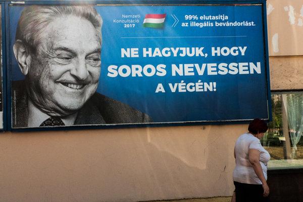 """""""Nenechajme, aby sa nakoniec smial Soros!"""" píše sa na bilbordoch rozvešaných po celej krajine."""