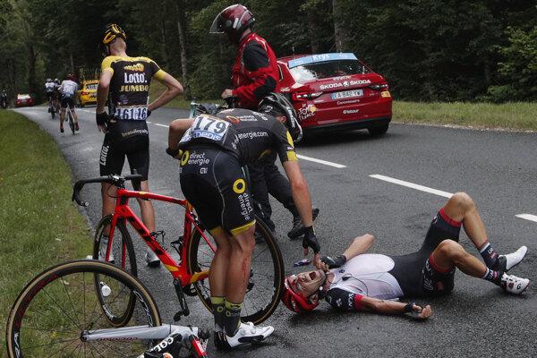 Pád na Tour de France.