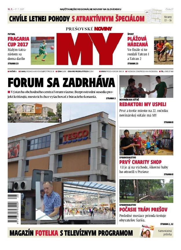 Titulná strana týždenníka MY Prešovské noviny č. 27/2017.