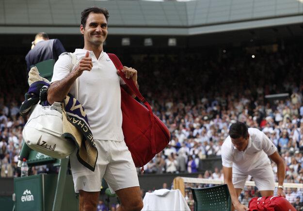 Radosť Rogera Federera po postupe do semifinále.