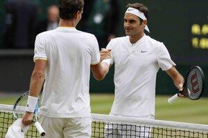 Tomáš Berdych a Roger Federer.