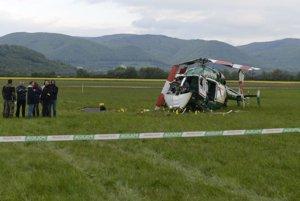 Policajný vrtuľník, ktorý sa zrútil pri Prešove.