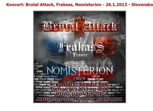 Pozvánka na vystúpenie britskej extrémistickej kapely na Slovensku.