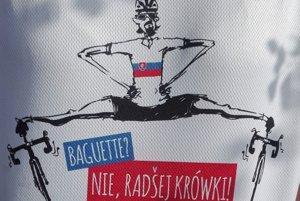Motív z tričiek slovenských fanúšikov na Okolo Poľska.