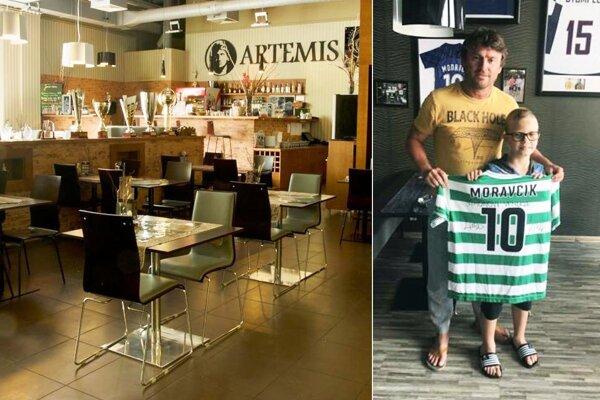 V reštaurácii Artemis nájdete veľa cenných dresov či trofejí známych športovcov. Na snímke bývalý futbalový reprezentant Ľuboš Moravčík.