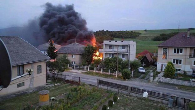 Horiaci dom v Olšovanoch.
