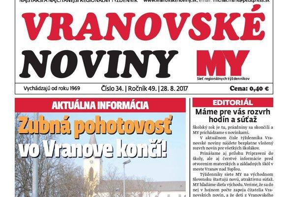 Titulná strana týždenníka Vranovské noviny č. 34/2017.