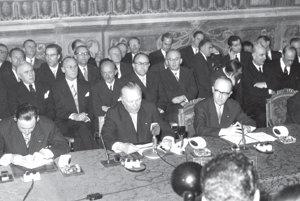 Podpis Rímskych zmlúv v roku 1957.